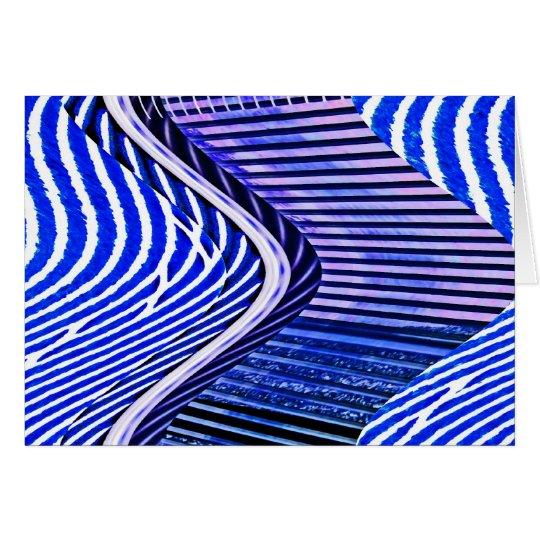 Blue Bars Twist Abstract Art Pattern Card