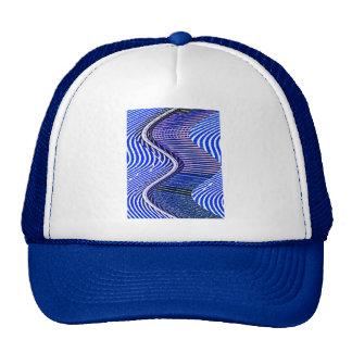 Blue Bars Twist Abstract Art Pattern Trucker Hat