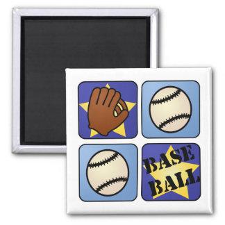 Blue Baseball 2 Inch Square Magnet
