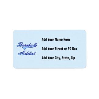 Blue Baseball Addict T-shirts and Gifts Address Label
