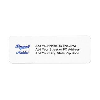 Blue Baseball Addict T-shirts and Gifts Return Address Label