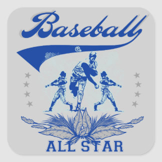 Blue Baseball All Star 2 T-shirts and Gifts Square Sticker