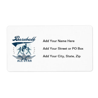 Blue Baseball All Star T-shirts and Gifts Shipping Label