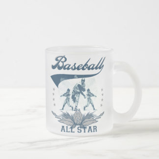 Blue Baseball All Star T-shirts and Gifts 10 Oz Frosted Glass Coffee Mug