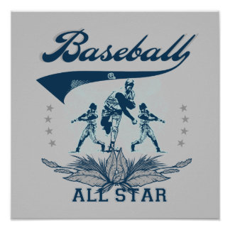 Blue Baseball All Star T-shirts and Gifts Poster