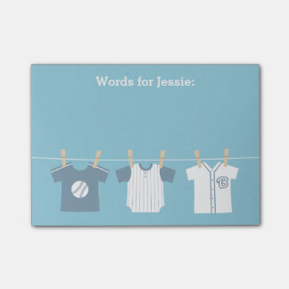 Blue Baseball Baby Boy and Mommy to Be Post-it® Notes