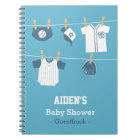 Blue Baseball Baby Boy Shower Guestbook Notebook