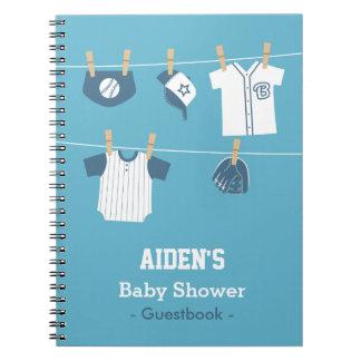 Blue Baseball Baby Boy Shower Guestbook Notebook