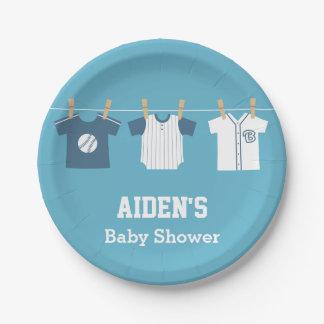 Blue Baseball Baby Boy Shower Supplies 7 Inch Paper Plate