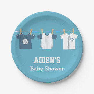 Blue Baseball Baby Boy Shower Supplies Paper Plate