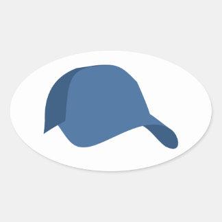 Blue baseball cap oval sticker