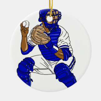 Blue baseball catcher ceramic ornament