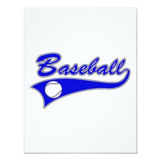 Blue Baseball Logo 4.25x5.5 Paper Invitation Card