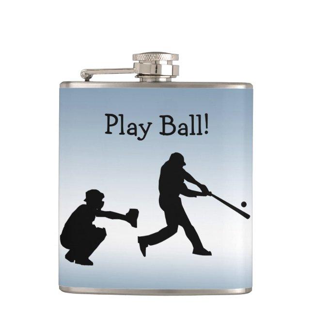 Blue Baseball Play Ball Sports Flask
