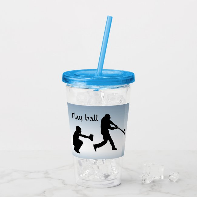 Blue Baseball Sports Acrylic Tumbler