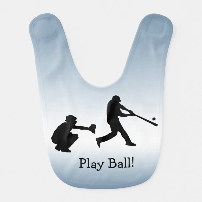 Blue Baseball Sports Baby Bib
