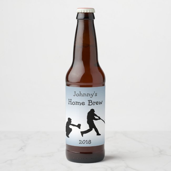 Blue Baseball Sports Beer Label