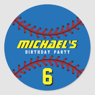 Blue Baseball Sticker Sports Kids Birthday Party
