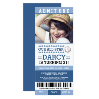 Blue Baseball Ticket Birthday Invites
