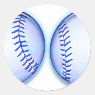 Blue Baseballs Classic Round Sticker