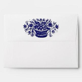 Blue Basket of Flowers Woodcut Artwork Envelope
