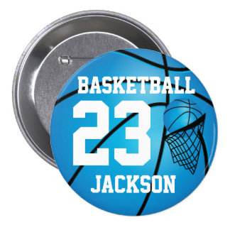 Blue Basketball and Hoop | DIY Text Pinback Button
