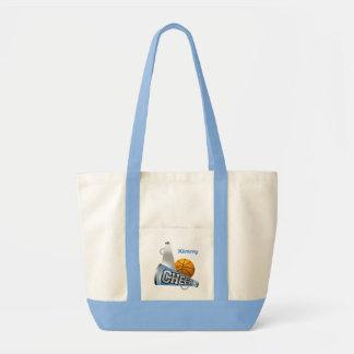 Blue Basketball Cheerleader Canvas Tote Bag