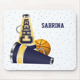 Blue Basketball Cheerleading Mouse Pad