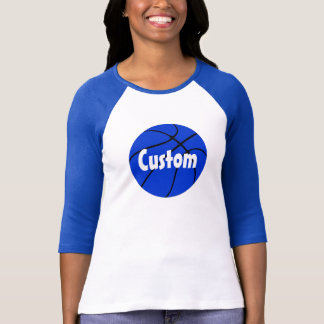 Blue Basketball Custom 3/4 Sleeve Raglan T-shirt