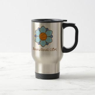 Blue Basketball Girl 15 Oz Stainless Steel Travel Mug