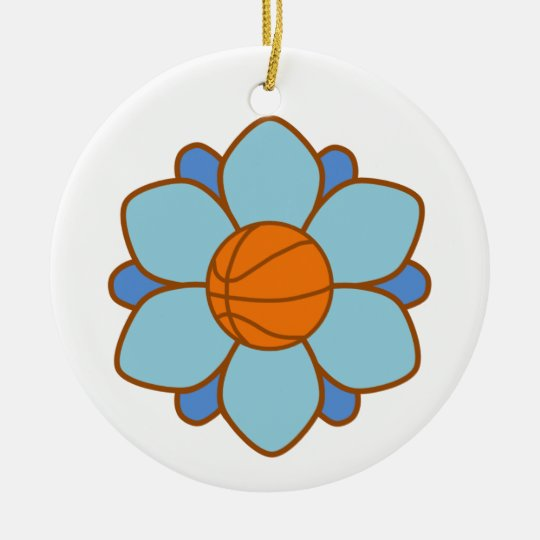 Blue Basketball Girl Ceramic Ornament