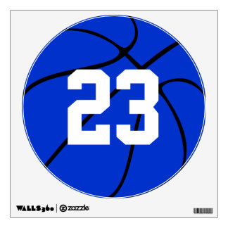 Blue Basketball Jersey Number Locker Room Decals