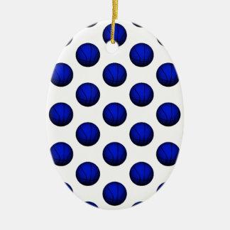Blue Basketball Pattern Ceramic Ornament
