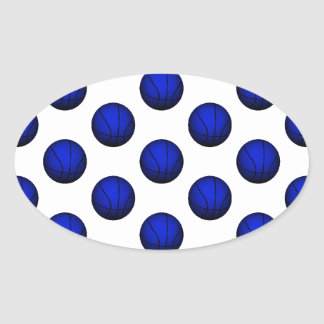 Blue Basketball Pattern Oval Sticker