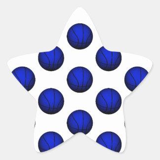 Blue Basketball Pattern Star Sticker
