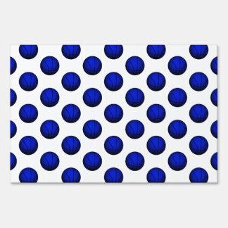 Blue Basketball Pattern Lawn Sign