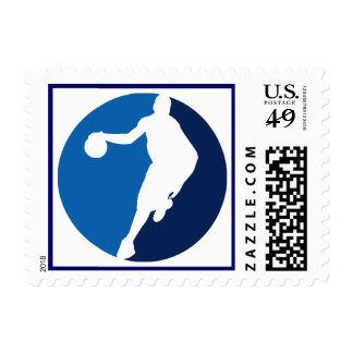 Blue Basketball Player Round Postage