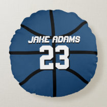 Blue Basketball Sports Team Customize Round Pillow