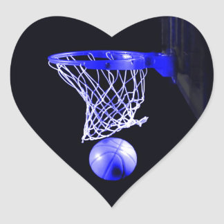 Blue Basketball Heart Sticker