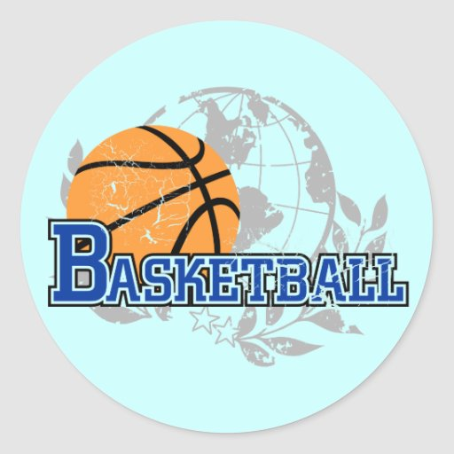 Blue Basketball T-shirts and Gifts Round Stickers