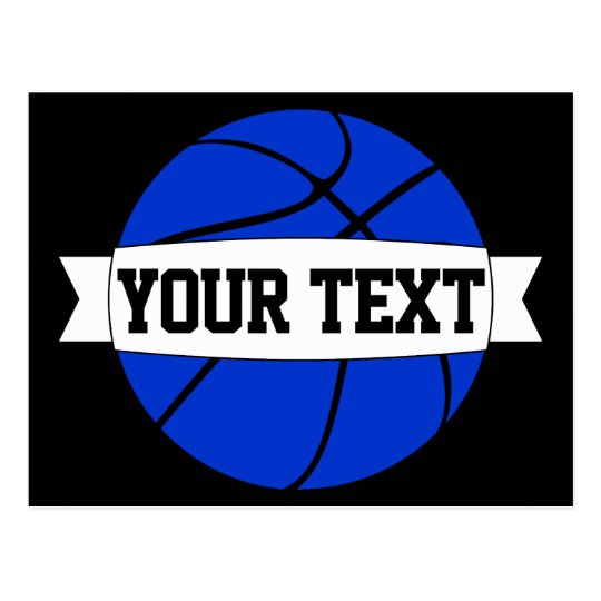 Blue Basketball Team Name or Custom Text Postcards
