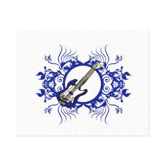 Blue Bass Blue Floral Circle Design Canvas Print