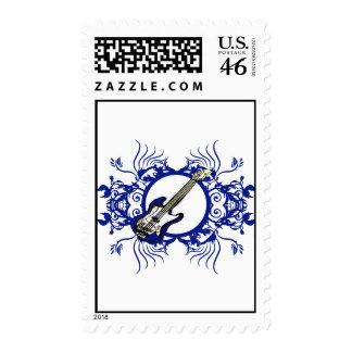 Blue Bass Blue Floral Circle Design Postage
