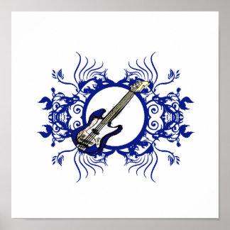 Blue Bass Blue Floral Circle Design Print