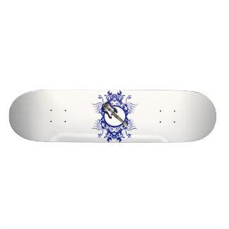 Blue Bass Blue Floral Circle Design Skate Decks