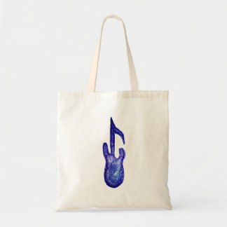 blue bass guitar music note crayon tote bag
