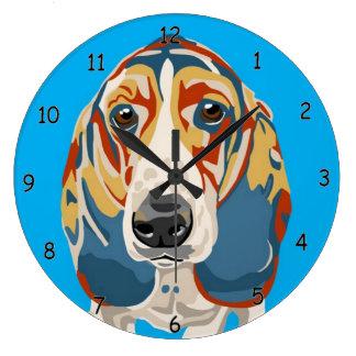 Blue Basset Hound Wall Clock