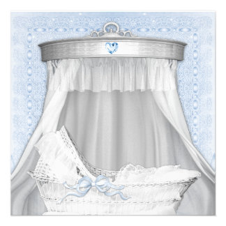 Blue Bassinet Baby Boy Shower Personalized Announcements