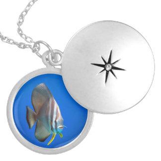 Blue Bat Fish Round Locket Necklace