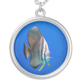Blue Bat Fish Round Pendant Necklace
